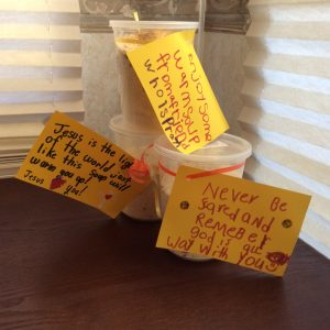 Containers of soup mix, with messages of love